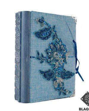 фотоалбум, синя дантела, дърворезба